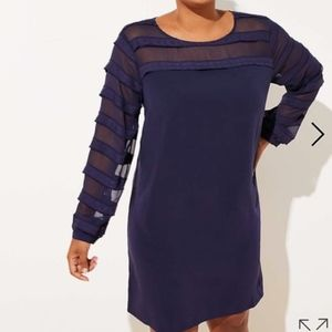 Dresses & Skirts - NWT LOFT Plus Striped Sheer Yoke Dress Navy New